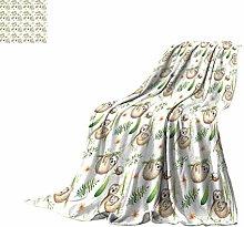Sloth Twin Size Fleece Blanket, Baby Sloth and