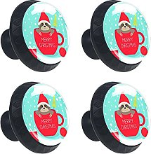 Sloth with Red Christmas Hat 4PCS Round Drawer