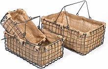 SLPR Metal Wire Basket with Jute Lining (Set of 3)
