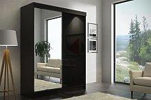 Smaba120 Sliding Door Wardrobe Black Gloss