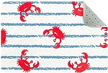 Small Bedroom Area Rug Non Slip Backing, Red Crab