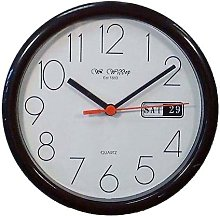 Small Black Office Wall Clock - Day & Date Display