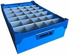 Small Blue Glassware Storage Box and Lid -