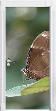 Small Brown Butterfly Door Sticker East Urban Home