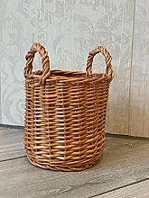 Small Brown Natural Wicker Basket Pens Makeup