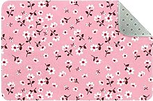 Small Flower Pale Pink Kids Room Square Area Rug,