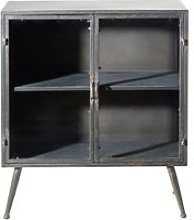 Small Glass and Metal Storage Unit with 2 Doors