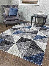Small Large Silver Dark Blue Grey Triangles Triad