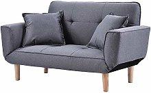 Small Light Gray Sofa Linen Fabric with Grab,