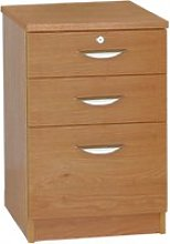 Small Office 3 Drawer Filing Cabinet, English Oak