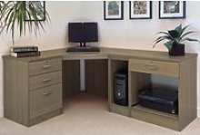 Small Office Corner Desk Set With 3+1 Drawers,