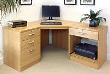 Small Office Corner Desk Set With 3+1 Drawers &