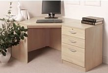 Small Office Corner Desk Set With 3 Drawers (Beech)