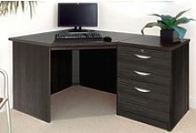 Small Office Corner Desk Set With 3 Drawers (Black
