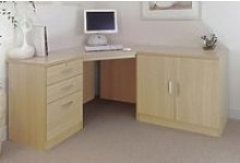 Small Office Corner Desk Set With 3 Drawers &