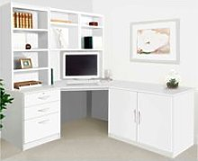 Small Office Corner Desk Set With 3 Drawers,