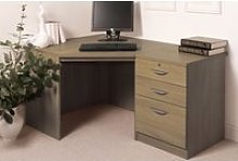Small Office Corner Desk Set With 3 Drawers