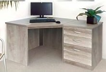 Small Office Corner Desk Set With 3 Drawers (Grey