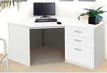 Small Office Corner Desk Set With 3 Drawers (White)