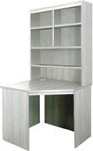 Small Office Corner Desk With Hutch Bookcase (Grey