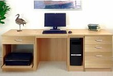 Small Office Desk Set With 1+3 Drawers, Printer