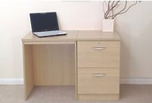 Small Office Desk Set With 2 Drawer Filing Cabinet