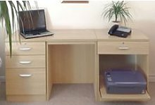 Small Office Desk Set With 3+1 Drawers & Printer