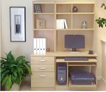 Small Office Desk Set With 3 Drawers, Computer