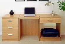 Small Office Desk Set With 3 Media Drawers, 1