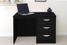 Small Office Desk Set With 3 Media Drawers (Black