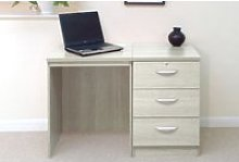 Small Office Desk Set With 3 Media Drawers (Grey