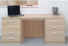 Small Office Desk Set With 4+3 Drawers (Beech),