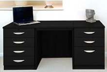 Small Office Desk Set With 4+3 Drawers (Black