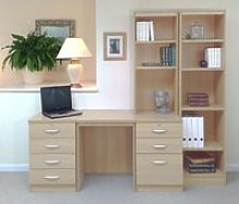 Small Office Desk Set With 4+3 Drawers & Bookcases