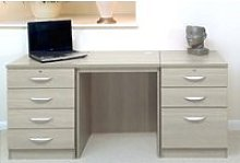 Small Office Desk Set With 4+3 Drawers (Grey