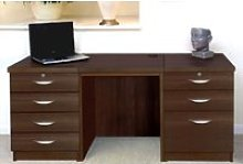Small Office Desk Set With 4+3 Drawers (Walnut)