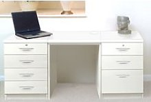 Small Office Desk Set With 4+3 Drawers (White),