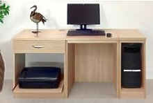 Small Office Desk Set With Single Drawer, Printer