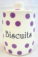 Small Purple Spots Biscuits Canister Fine Bone