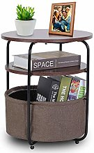 Small Round Table,Storage Basket Side Table, Round