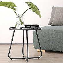 Small Side Table, Round Sofa End Table Metal Lamp