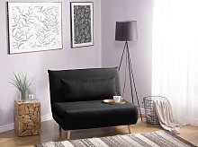 Small Sofa Bed Black Fabric 1 Seater Fold-Out