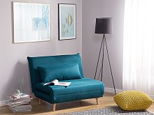 Small Sofa Bed Blue Fabric 1 Seater Fold-Out