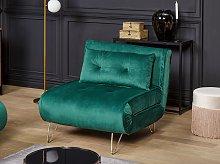 Small Sofa Bed Dark Green Velvet 1 Seater Fold-Out