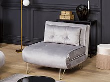 Small Sofa Bed Grey Velvet 1 Seater Fold-Out