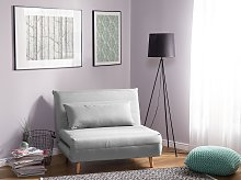 Small Sofa Bed Light Grey Fabric 1 Seater Fold-Out