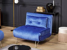 Small Sofa Bed Navy Blue Velvet 1 Seater Fold-Out