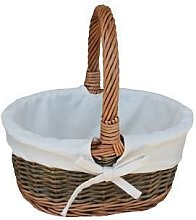 Small White Lined Country Oval Wicker Shopping