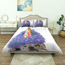 SmallNizi Duvet Cover,Purple Party Dog Animal