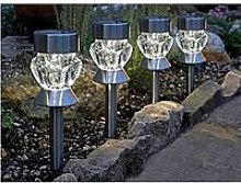 Smart Solar Crystal Glass Stainless Steel Stake